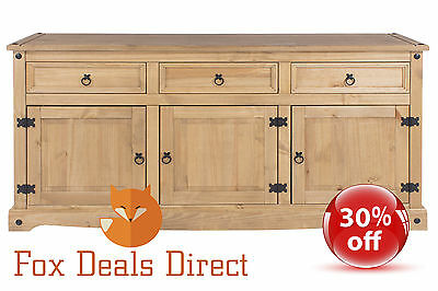 Sideboard Corona Mexican Solid Pine Large 3 Door 3 Drawer Waxed Dovetail Joints