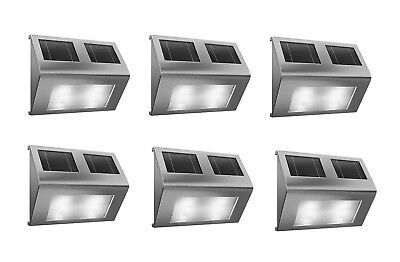 6x Outdoor Solar Powered LED Stair Step Wall Fence Security Garden Lights Lamp