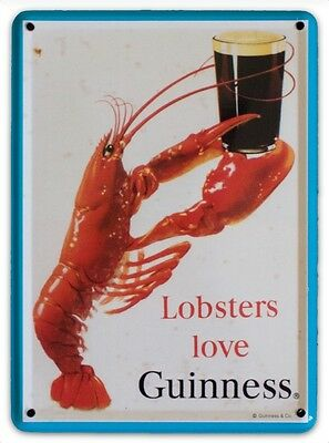 GUINNESS LOBSTER LOVE Small Vintage Metal Tin Pub Sign