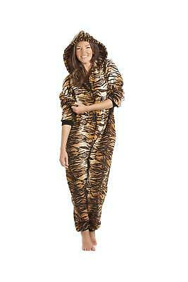 Camille Womens Luxury Gold And Brown Tiger Print Hooded All In One Pyjama