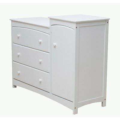 Dream On Me Providence Chest Combo in White Transitional Baby Dresser