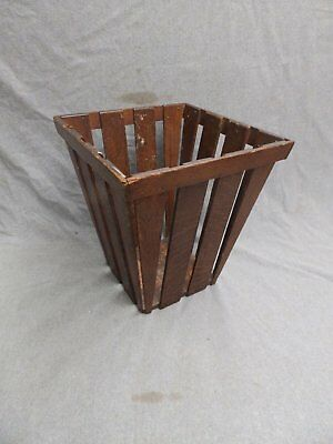 Vintage Oak Waste Basket Old Arts Crafts Mission Antique Office Chic 310-16