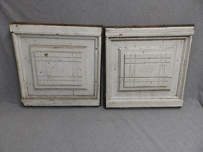 Antique Pair Architectural Plaques Panels Medallion Old Shabby Vtg Chic 311-16