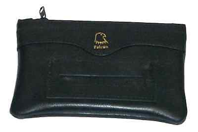 Falcon Lamb Skin Zip Rolling Tobacco Pouch Rubber Lined With Paper Slot Black