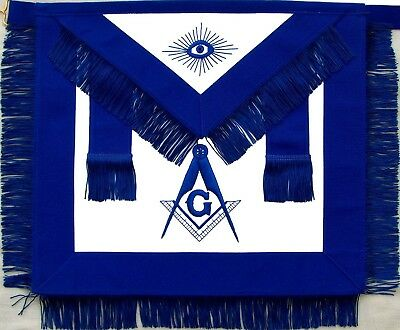 Masonic Master Mason Apron Blue With Fringe Hand Embroidered (Ma-399-V)