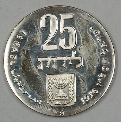 1976 Israel 25 Lirot Silver Proof 28th Independence Day Commem Coin in Holder