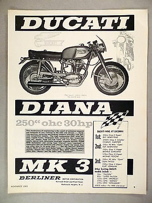 Ducati Diana Motorcycle PRINT AD - 1963 ~~ Laconia winners