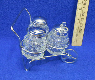 Vintage Salt & Pepper Shakers & Condiment In Metal Cart Clear Pressed Glass Set