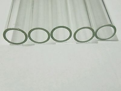 "5 Tubes 5"" Borosilicate Glass Blowing Tubing 13mm OD 1.5mm Wall Sharp Cut Pyrex"