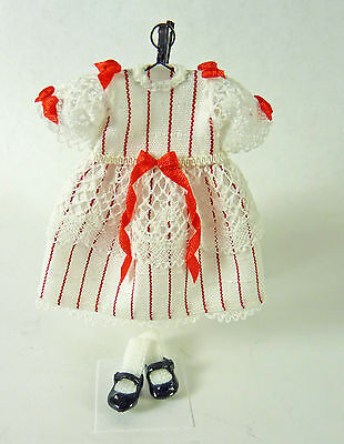 Dollhouse Miniature Artisan Little Girl's Red/ White Dress & Mary Jane Shoes