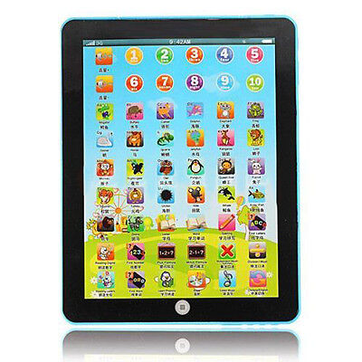 English Computer Learning Education Machine Tablet Pad Kids Toy Blue HY