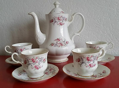 Service 4 tasses et carafe Porcelaine anglaise vintage BONE CHINA Gainsborough