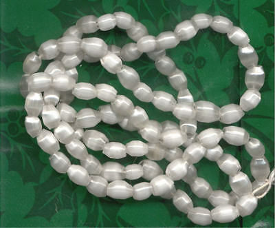 Vintage WHITE SATIN GARLAND HOLLOW BEADS Moon glow Christmas Czech lrg size Lot