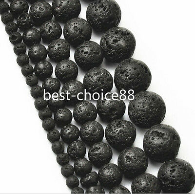 100pcs Natural Black Volcanic Lava Stone Round Beads Wholesale Drop 4 6 8 10mm