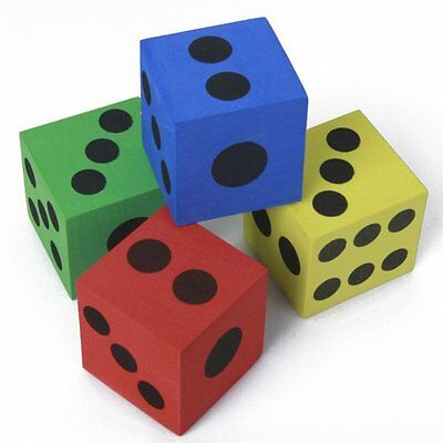 12Pcs Foam Playing Dice - Random Colors HY