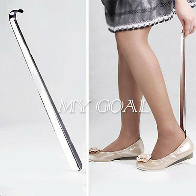 58cm Stainless Steel Metal Durable Long Handle Shoehorn Shoe Horn Remover Silver