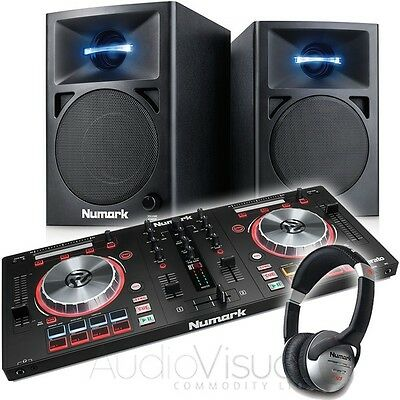Numark Mixtrack Pro 3 DJ Midi Controller with Numark N-Wave 360 Monitor Speakers