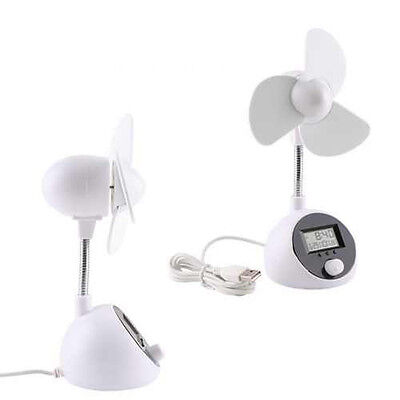 Portable Flexible USB Cooling Air Desk Fan with LCD Digital Clock Temperature
