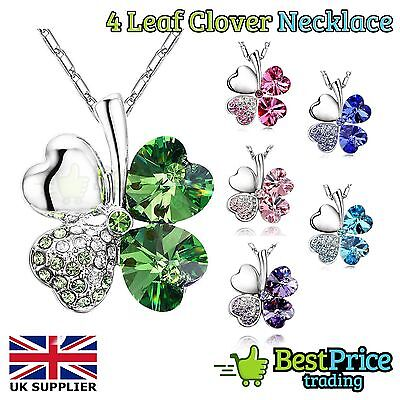 Four Leaf Clover Silver Pendant Necklace Lucky Irish 4 *St Patricks Day Gift