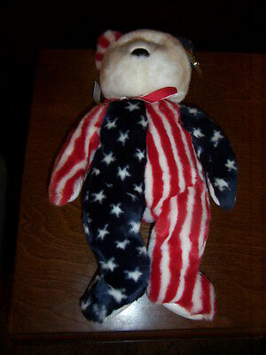 Retired Ty Beanie Buddy Spangle The Usa Bear Mint With Tags