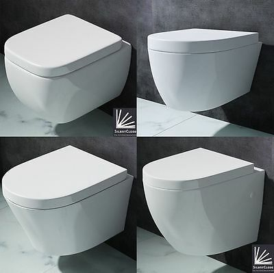Toilet Bathroom Pan WC Back To Wall BTW Hung Mounted Cloakroom Soft Close Seat
