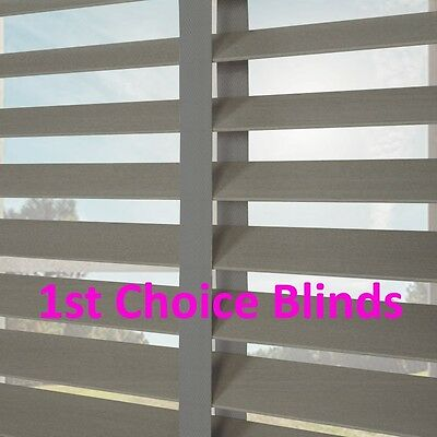 Made to Measure DELUXE GREY WITH TAPES Wooden Wood Venetian Blinds with Tape