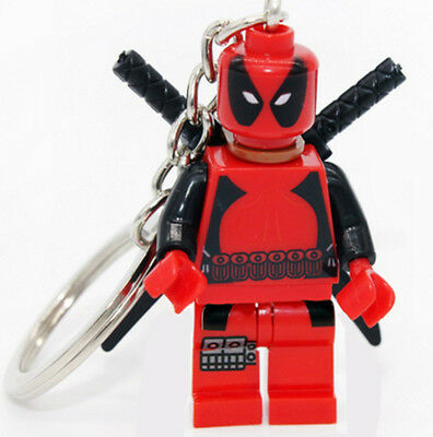 Deadpool Charm Key Chain Marvel Reynolds Merc with a Mouth Lego Compatible