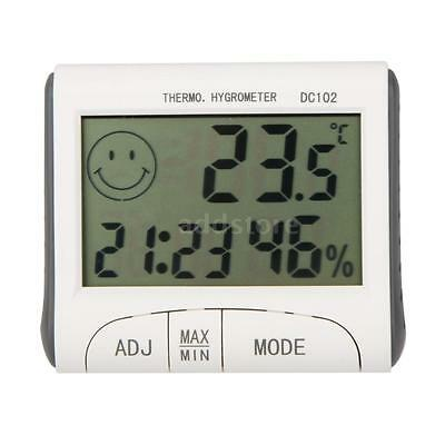 LCD Digital Hygrometer Humidity Thermometer Temperature Meter With Clock W0U8