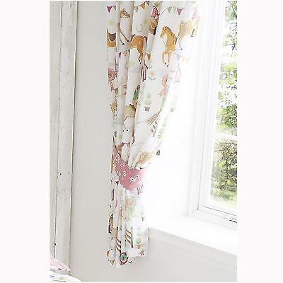 "HORSE SHOW 66"" x 72"" LINED CURTAINS WITH TIE-BACKS NEW"