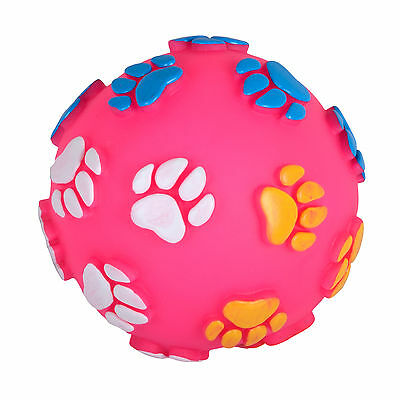 12cm Pink Vinyl Squeaky Ball Fetch Throw Pet Dog Puppy Play Chew Sound Toy