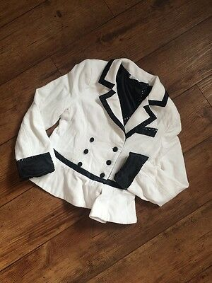 Designer Miss Grant White Jacket With Black Detail Age 8-9 (34) Stunning!