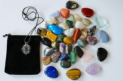 25 x Bulk Large Mixed Healing Crystals Gemstones Tumblestones Chakra Gift Set