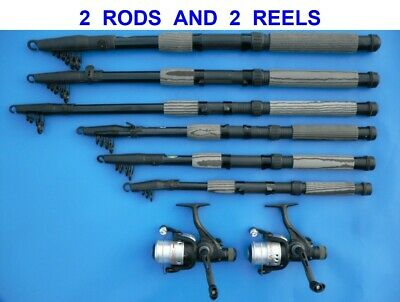 2 CARBON TELESCOPIC RODS+OKUMA ATOMIC 30 REELS 6,7,8,9,10,12 ft SPINNING TRAVEL
