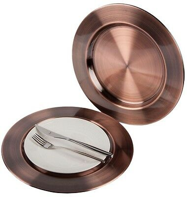 Premium 33cm Red Bronze Stainless Steel Charger Plates Under Plates