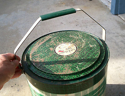 1950's - 60's Vintage Tam O Shanter Toter Green  Skotch Plaid Round Steel Cooler