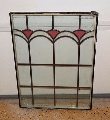 "13934/ Vintage unframed Stained Glass Window ~ 18"" by 24"""