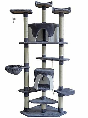 FoxHunter Kitten Cat Tree Scratching Post Sisal Toy Activity Centre Grey CAT092