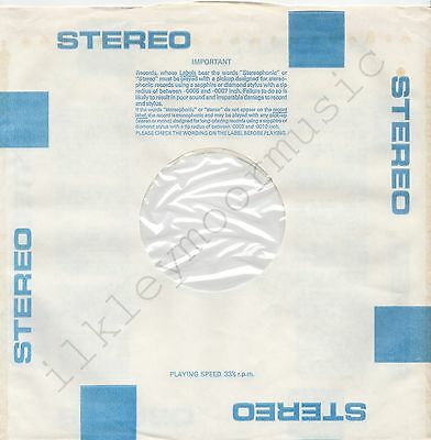 "Vintage INNER SLEEVE or SLEEVES 12"" BLOCKS blue STEREO LARGE poly-lined cut x 1"