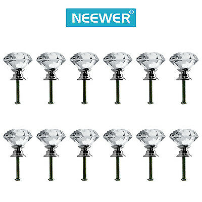 Neewer 12Pack 1.18 inches Clear Crystal Glass Door Knob Drawer Pull Handle