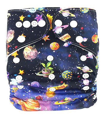 Modern Cloth Reusable Washable Baby Nappy Diaper & Insert, Space with Planets