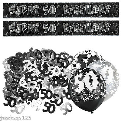 Black 50th Birthday Banner Party Decoration Pack Kit Set Balloon Glitz Unisex