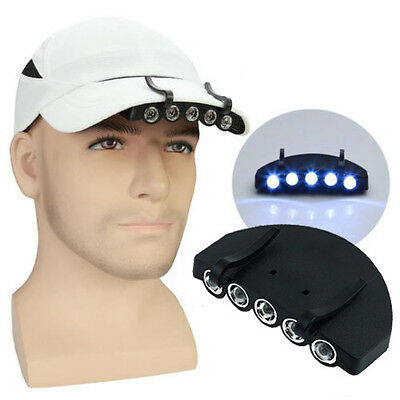 C8  Clip-On 5 LED Cap Hat Camping Hunting Fishing Light Flashlight With Battery