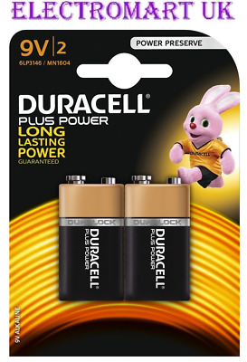 2 X Duracell Plus Power 9V Pp3 Mn1604 Battery Batteries Smoke Alarm