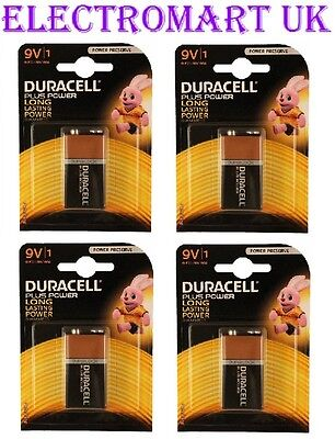 4 X Duracell Plus Power 9V Pp3 (Mn1604) Battery Batteries Smoke Alarm
