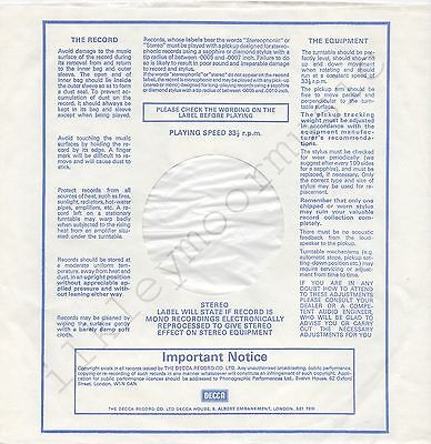 """Vintage INNER SLEEVE or SLEEVES 12"""" DECCA PLEASE CHECK THE WORDING lined x 3"""