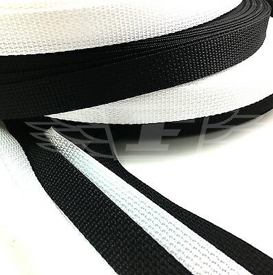 20mm POLYPROPYLENE WEBBING STRAPPING - 10 METRE ROLL BLACK or WHITE BEST QUALITY