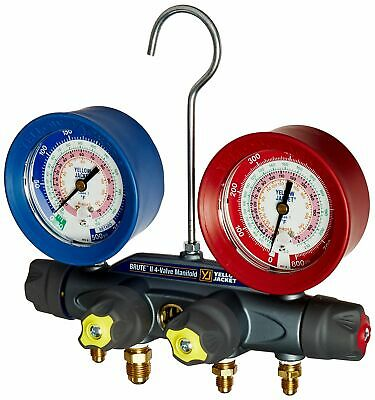 Yellow Jacket 46010 BRUTE II 4-Valve Manifold only, (F), with Red/Blue gauges