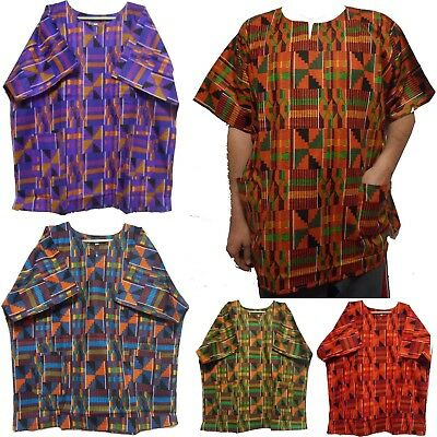 African traditional Ethnic Blouse Kente Dashiki Shirt Kenta Print Boho Top 1Size
