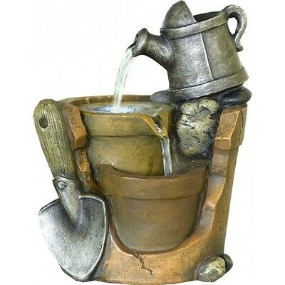 Watering Can Water Feature - Tranquil Indoor Cascading Fountain with LED Light