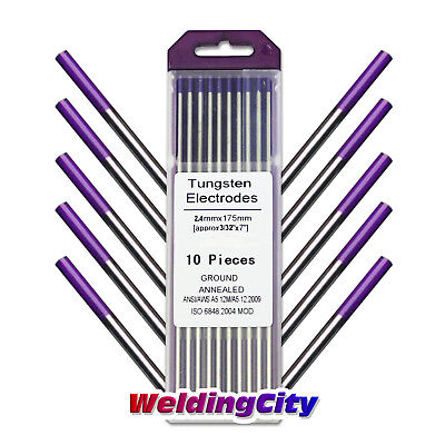 "10-pk TIG Welding Tungsten Tri-Element Non-Radioactive Purple 3/32""x7"" US Seller"